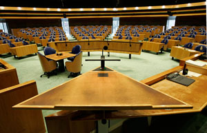 Dit is de Plenaire Zaal van de Tweede Kamer